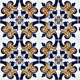 papel-de-parede-azulejo-portugues-com-flores-amarelo-ouro-velho-azul-marinho