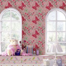 papel-de-parede-borboletas-abstratas-rosa