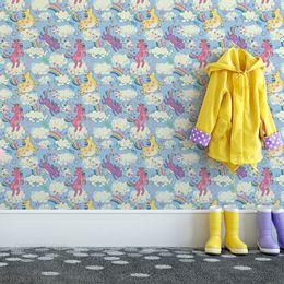 papel-de-parede-unicornios-coloridos-azul-claro1