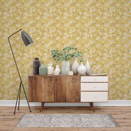 papel-de-parede-pequenas-flores-mostarda1