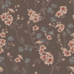 papel-de-parede-botoes-de-flores-fundo-marrom
