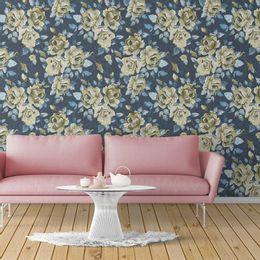 papel-de-parede-rosas-moderno-azul-marinho1