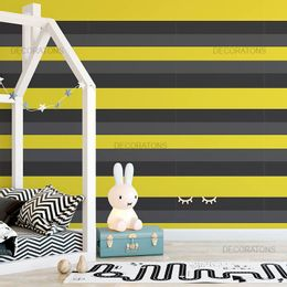 papel-de-parede-listrado-horizontal-amarelo-com-cinza-e-preto