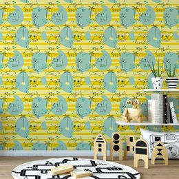 papel-de-parede-elefantes-girafas-amarelo