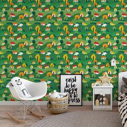 papel-de-parede-casinhas-nos-morros-verde