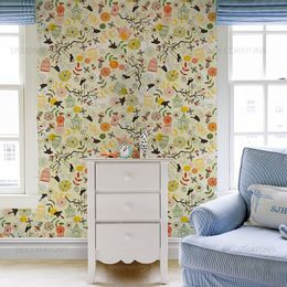 papel-de-parede-gaiola-passaros-e-flores-amarelo