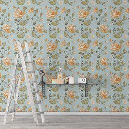 papel-de-parede-floral-rosas-turquesa