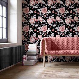 papel-de-parede-floral-rosas-preto-1