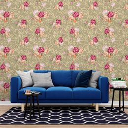 papel-de-parede-rosas-e-arabesco-vintage-bege