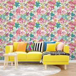 papel-de-parede-rosas-tropical-flores-diversas-branco