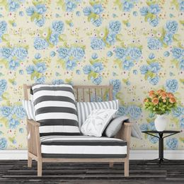 papel-de-parede-rosas-azul-e-flores-amarelo-claro