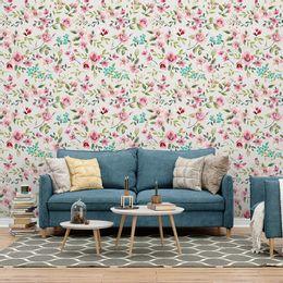 papel-de-parede-floral-galhos-com-folhas-e-flores-creme