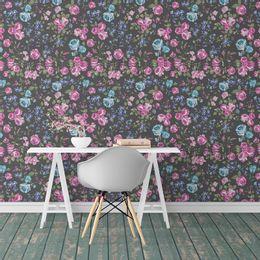 papel-de-parede-floral-vibrante-rosas-e-flores-grafite