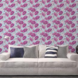 papel-de-parede-floral-turquesa-com-lilas