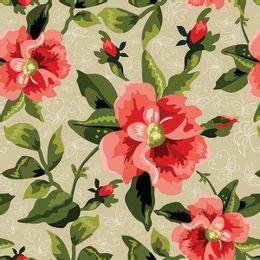 papel-de-parede-floral-desenho-cores-vivas-bege
