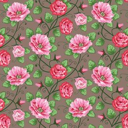 papel-de-parede-tropical-rosas-e-ramos-marrom