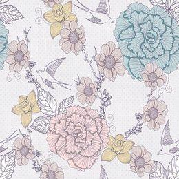 papel-de-parede-flores-e-passarinhos-delicado-cinza