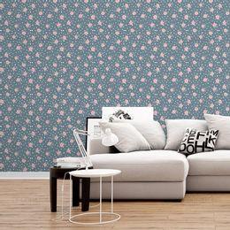 papel-de-parede-tropical-poa-mini-rosas-azul-acinzentado