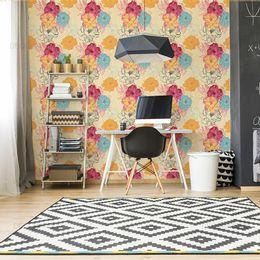 papel-de-parede-floral-colorido-vintage-amarelo-claro