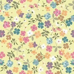 papel-de-parede-pequenas-e-variadas-flores-amarelo-claro