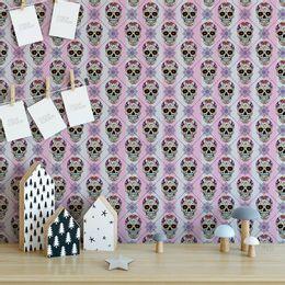 papel-de-parede-caveira-mexicana-rosa