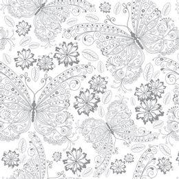 papel-de-parede-borboletas-arabescos-cinza