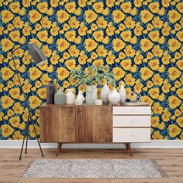 papel-de-parede-floral-amarelo-moderno