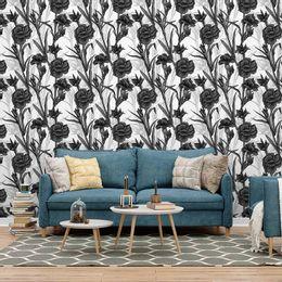 papel-de-parede-floral-moderno-branco-e-preto
