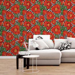 papel-de-parede-floral-moderno-listrado-vermelho