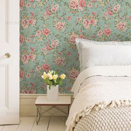 papel-de-parede-floral-mini-rosas-fundo-verde-acinzentado