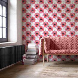 papel-de-parede-pinturas-de-flores-rosa-claro