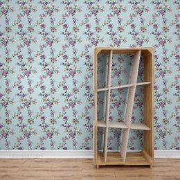 papel-de-parede-ramos-de-rosas-fundo-azul-claro
