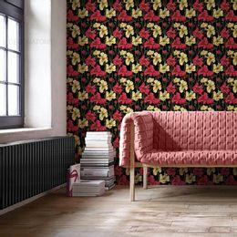 papel-de-parede-cortina-de-flores-preto