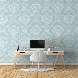 papel-de-parede-vintage-turquesa-desenho-branco-grande