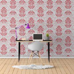 papel-de-parede-arabesco-vintage-vermelho-com-cinza