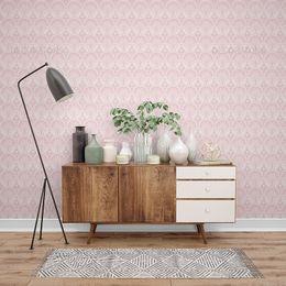papel-de-parede-vintage-rosa-claro-desenhos-redondo