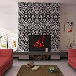 papel-de-parede-vintage-floral-preto-branco