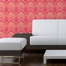 papel-de-parede-vintage-coral-com-desenhos
