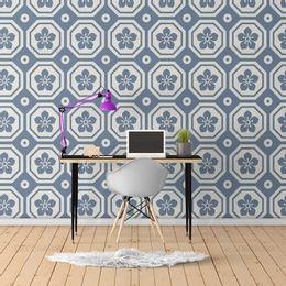 Papel-de-Parede-Abstrato-Retro-Quadriculado-Azul-Cobalto-ABS85
