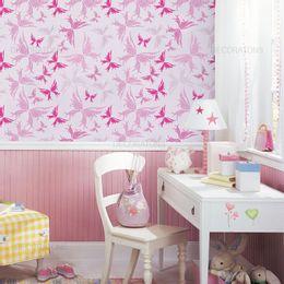 papel-de-parede-borboletas-arabescos-rosa-claro