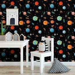 papel-de-parede-espaco-foguete-planetas-preto