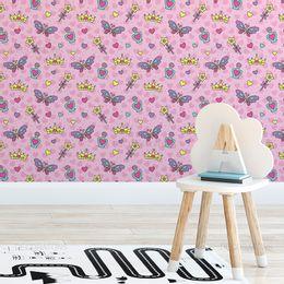 papel-de-parede-princesa-com-coroa-e-borboleta-rosa