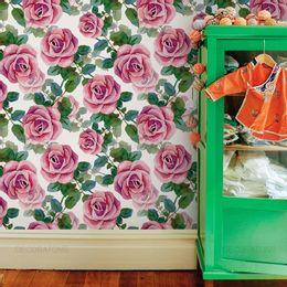 papel-de-parede-floral-rosa-pintura