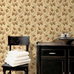 papel-de-parede-vintage-ramos-e-folhas-champanhe