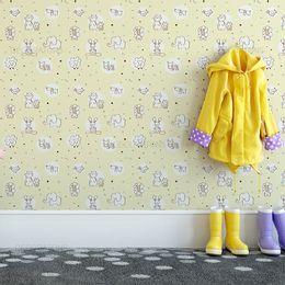 papel-de-parede-animais-fofinhos-zoologico-amarelo-claro1