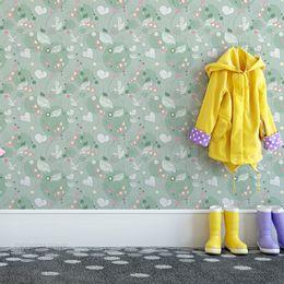 papel-de-parede-ramos-flores-coracoes-e-passaros-verde