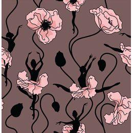 papel-de-parede-bailarinas-vestido-de-fores-rosa-queimado