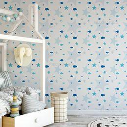 papel-de-parede-lindos-peixinhos-e-estrelas-azul-claro