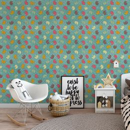 papel-de-parede-elefantes-coloridos-turquesa1