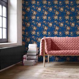 papel-de-parede-rosas-vintage-azul-cobalto1